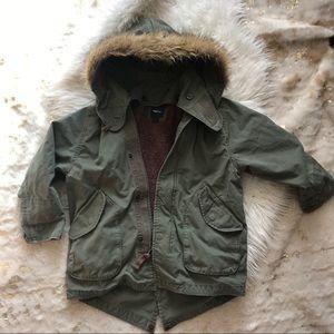 Gap kids warm winter parka with faux fur hood